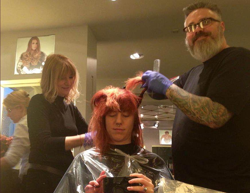 Robert Edick, Vice President of Education for Phenix Salon Suites, training in Denmark.