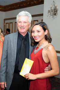 Gina Rivera's father, Larry Peneschi, with Brianna Cofinco shortly after presenting her with the scholarship.