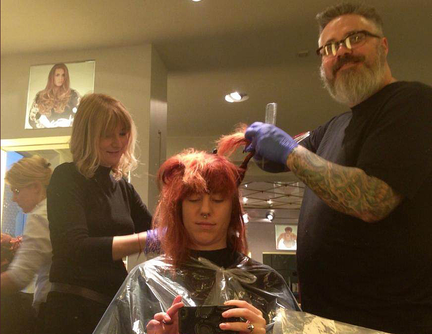 Robert Edick, Vice President of Education for Phenix Salon Suites, training in Denmark.
