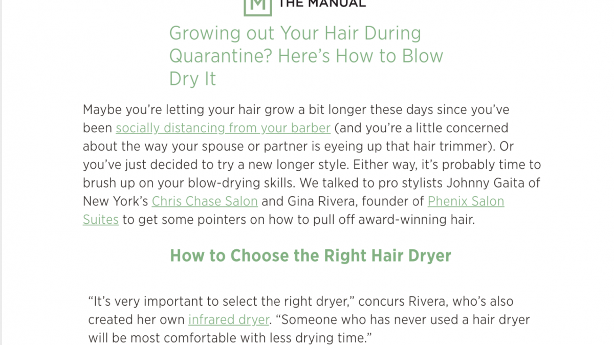 The Manual | Growing out Your Hair During Quarantine? Here's How to Blow Dry It Featuring Gina Rivera