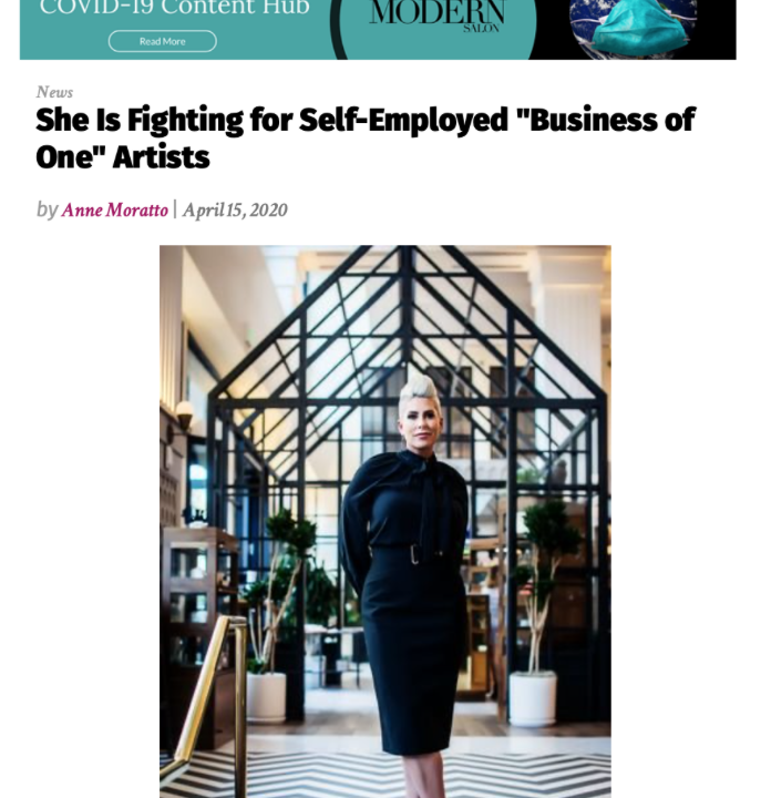 "MODERN SALON | She Is Fighting for Self-Employed ""Business of One"" Artists Featuring Gina Rivera"