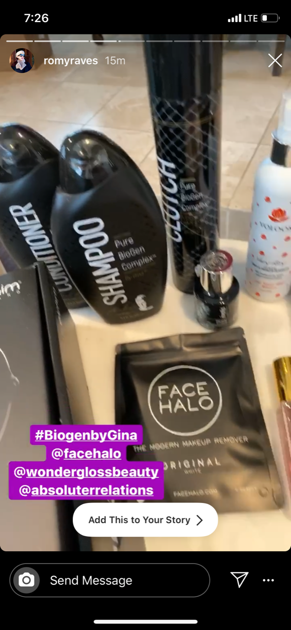 Social Influencer, @romyraves shares the BioGen Complex Shampoo, Conditioner and CLUTCH Hairspray to her Instagram stories!